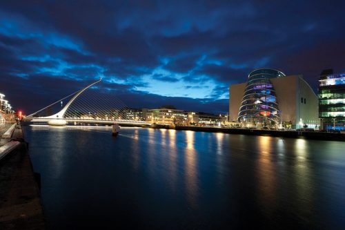 Dublin Convention Centre - view across the river at night