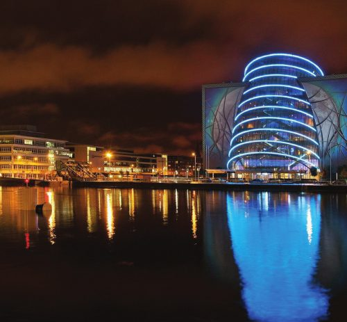 Dublin Convention Centre at night