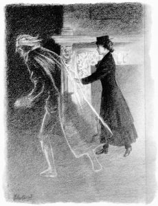 """The ghost glided on more swiftly"" Illustration by Wallace Goldsmith, made available by Project Gutenberg"
