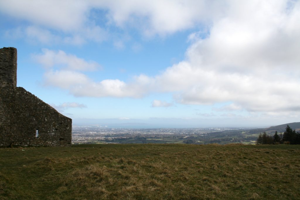 Photo of the Hellfire Club looking down on Dublin