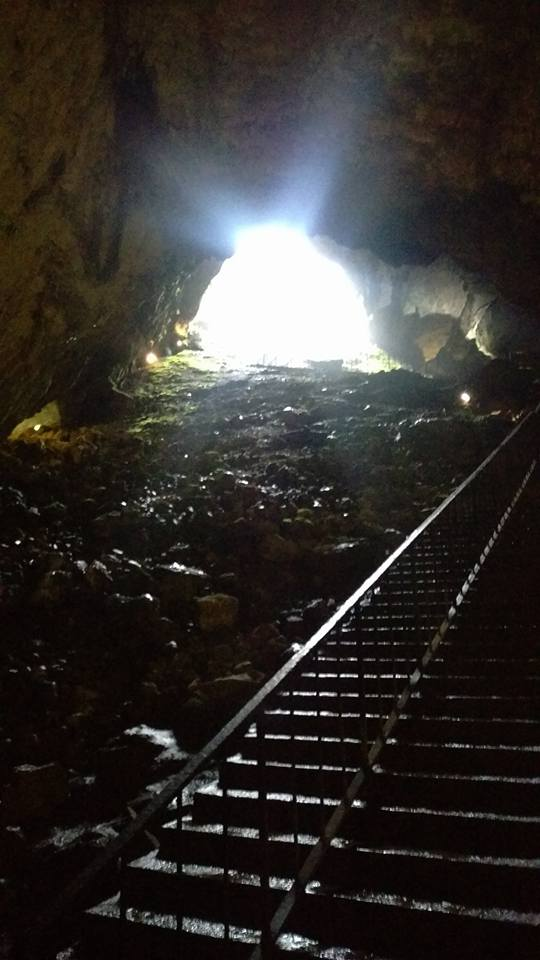Photo of the steps down from the cave entrance