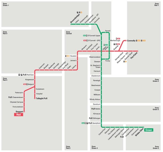 Luas Tram Map